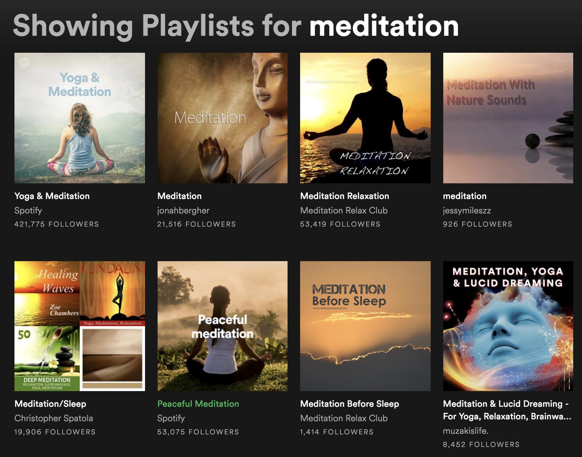 Spotify Playlists for Meditation