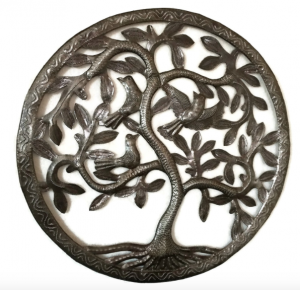 "Tree of Life, Haiti Metal Wall, Birds, Steel Drum Garden Art, 17""x17"""