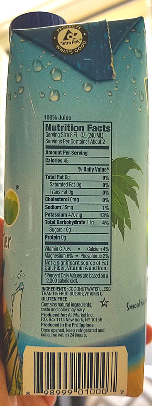 VitaCoco Nutrition Facts